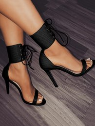 trendy heels NZ - Trendy lace up open toe high heels ankle strap white black shoes PU leather 2018 new size 35 to 40