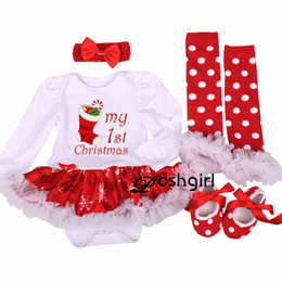 b45ea86e78064 My First Christmas Baby Girl Clothes Set Lace Romper Dress Headband Leg  Warmers Crib Shoes Girls Christmas Outfits Boutique Gift Y18120303