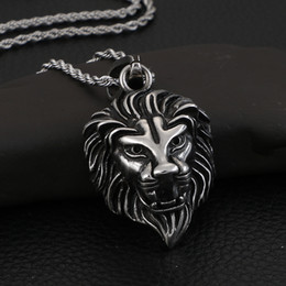 $enCountryForm.capitalKeyWord Australia - KP57663-BD punk -hiphop jewelry Pure stainless steel biker lion pendant necklace free chain cool mens gifts