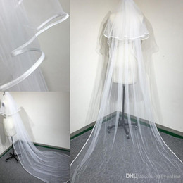 $enCountryForm.capitalKeyWord UK - 2017 Modest Ribbon Edge Long Bridal Veils with Comb White  Ivory Romantic Wedding Veil Free Shipping Cheap Long Muslim Veils CPA911