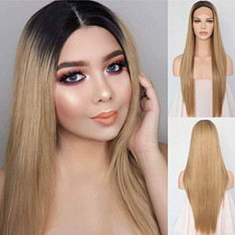 Discount long blonde hair dark roots Ombre Hair Dark Roots To Ash Blonde Heat Resistant Natural Hair Long Wigs Straight Synthetic Lace Front Wig For Women Da