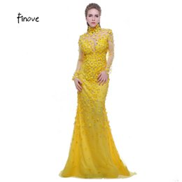 142ef2a38 Finove Prom Dress Yellow 2019 High Neck Long Sleeves See Through Back  Beading with Flowers Formal Evening Dress Vestido de Festa