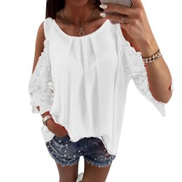 Wholesale Hot Women Off Shoulder Tops Hollow Out Sleeves Loose Slim Fit Pullover Tops for Summer MCK99