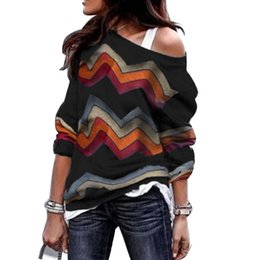 Wholesale camisas off shoulder for sale – plus size Women Blouse Sexy Wave Off Shoulder Long Sleeve Shirt Thin Loose Sweater Boho Printed Tops Knitted Pullover Blusas Camisas Mujer Y200422