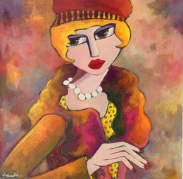 elegant woman paintings Australia - Cartoon Art Elegant Woman,Oil Painting Reproduction High Quality Giclee Print on Canvas Modern Home Art Decor