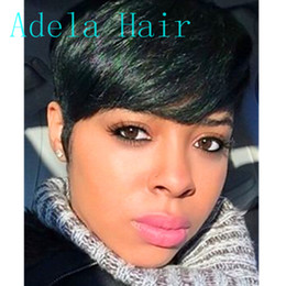 Women Hair Cut Styles Australia - Afro Short pixie cut style wig with bangs straight human hair african american wigs for women