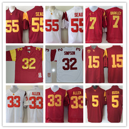 067ecb3eebb Mens #32 O.J Simpson USC Trojans Football Jersey Marcus Allen Isaac Whitney  Matt Barkley Reggie Bush #55 Junior Seau USC Trojans Jersey