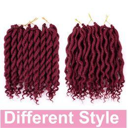 wavy hair extensions for black women 2019 - Goddess Faux Locs Curly Wavy Crochet Braids 12 Strand Pack Short wavy Synthetic Hair Extensions For Black Women Goddess
