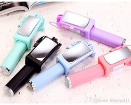 $enCountryForm.capitalKeyWord Australia - Candy Color Patchwork Mini Portable Wire Control Selfie Stick For Mobile Cell Phone U373 new Self-portrait Holder Monopod Stick with mirror
