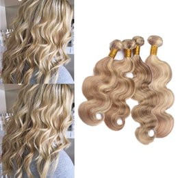 $enCountryForm.capitalKeyWord NZ - Body Wave Wavy 4 Bundles #8 613 Ombre Piano Color Hair Weaves Brazilian Piano Color Human Hair Extensions 10-30 inch