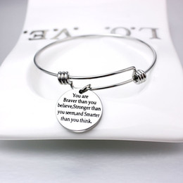 Wholesale 2019 New Popular Silver Plated Engraved School Students Motivational Words Charm Bangle Bracelets for Custom Design