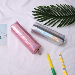 Gold Boxing Trunks Australia - Holographic Laser Bag Cute Zipper Pen Pencil Case Makeup Cosmetic Bags School Bag Box #208822