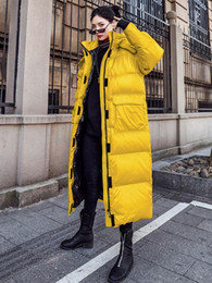 winter shiny jacket UK - 2019 Winter Leisure Parka Sports Down Jacket Oversize Hip-hop Style Loose Shiny Long Coat Women Plus Size