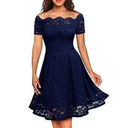 509f3c762b 50 s vintage azul marino vestido de encaje mujer manga corta negro púrpura  dama de honor vestidos de fiesta de verano elegante hombro sexy vestido