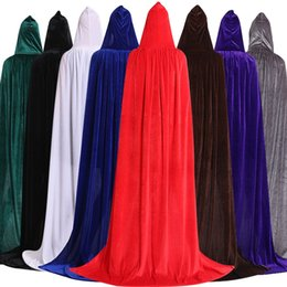 Women Witch costume gothic online shopping - Gothic Hooded Stain Cloak Wicca Robe Witch Larp Cape Women Men Halloween Cosplay Costumes Vampires Fancy Party TTA1664