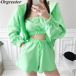 sport dress hoodie NZ - Tracksuits Women Summer 2020 New Green Hoodies Sweashirt Jacket +Tube top + Shorts 3 Piece Sets Casual sports Suits Female T200701