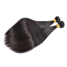 Cheap Natural Hair Wefts UK - Brazilian Straight Virgin Hair Wefts 3 Bundles Natural Black 100% Unprocessed Brazilian Straight Human Hair Extensions Cheap Brazilian Hair