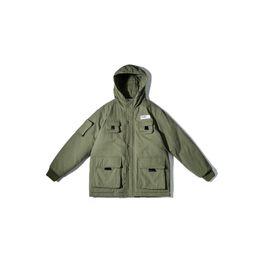 Wholesale green frock coat resale online – 2019 Winter Street retro loose hooded padded cotton men s trend multi pocket frock coat
