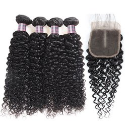 Discount curly brazilian virgin hair wefts - Kinky Curly Human Hair Bundles 4PCS with Lace Closure Malaysian Virgin Hair Wefts Brazilian Hair Extensions With Lace Cl
