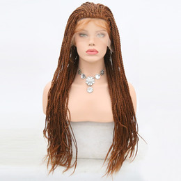 synthetic braiding hair free 2019 - Free Shipping Light Brown #30 Color Twist Braids Wig Synthetic Lace Front Wigs 24 Inch Heat Resistant Fiber With Baby Ha