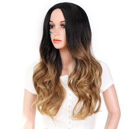 Wholesale New Synthetic Long Curly Wavy Wig Mix Brown Heat Resistant Fashion Women Wig