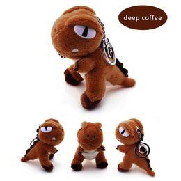 White Shorts Australia - Dinosaur Plush Doll Super Soft Eco-friendly Short Stuffed Toy Pendant with Metal Keychain 10CM