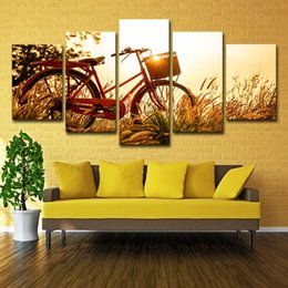 $enCountryForm.capitalKeyWord Canada - 5Pcs Bicycle Dandelion Pictures Sunrise Landscap Oil Painting Poster Wall Art HD Print Canvas Painting Fashion Hanging Pictures