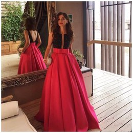 Empire Waist Crystal Beading Australia - Dark Red Prom Formal Dresses Bow Sash Empire Waist Backless Black Top Beads Evening Party Gowns SP325