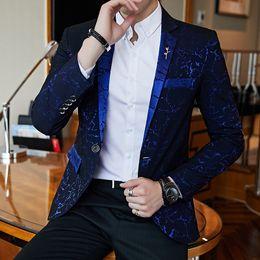 Slim Fit Red Prom Dresses Australia - Luxury Party Prom Blazer Shinny Yarn Wine Red Blue Black Contrast Collar Dress Dinner Blazer Homme Slim Fit Suit Coat Jacket Y190422