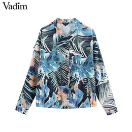 vintage floral print long casual jacket 2019 - Vadim women vintage floral print coat single breasted long sleeve turn down collar drawstring jacket female casual tops