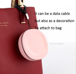 Usb Data Charging Cable Iphone Australia - Macarons USB charager and data cable line 2 in 1 for iphone X 8 samsung Galaxy clamshell keychain charging data cable for female