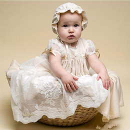 2020 Yeni açık şampanya Dantel Vaftiz Örtü İçin Kız bebekler Mücevher Boyun Ucuz Uzun Vaftiz Elbise Custom Made İlk Haberleşme Elbise