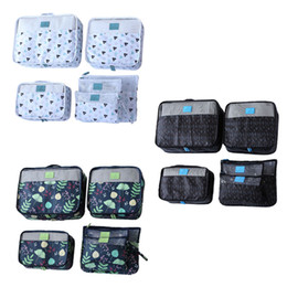 piece cosmetic bag set Australia - Cosmetic Bag Polyester Korean Version Two Way Zipper Waterproof Six Piece Set Portable Grid Square Geometric Print