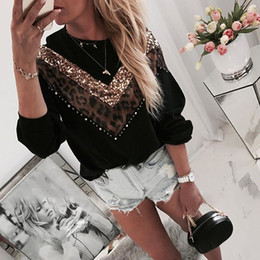 Wholesale womens black long sleeve t shirt for sale – custom Womens Pullover Casual Glitter Lepoard Patchwork Shirts Women Long Sleeve Black T shirts Pull Femme Loose Pullover Tops Plus Size