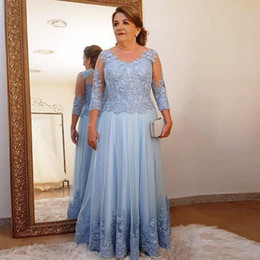 multicolor plus size prom dresses UK - Plus Size Mother of the Bride Dress for Wedding Party Light Blue Lace Tulle 3 4 Long Sleeve Ladies Formal Evening Prom Gowns
