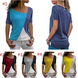 $enCountryForm.capitalKeyWord Australia - Summer Women T-shirt Sports Short Sleeve Patchwork Travel Casual T Shirt Round Neck Tops Designer raglan Casual Blouse Party Clothings