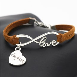 $enCountryForm.capitalKeyWord Australia - Hot Selling Infinity Love Sister Mom Daughter Heart Pendant Charm Bracelets & Bangles Brown Leather Suede Rope Jewellery For Women Men Gifts