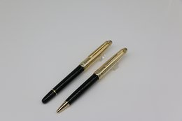 Pen Writes Gold Color UK - 2 style Top quality Ag925 Rollerball Ballpoint pen up gold and down black color office stationery with gold Trim and MB Brands Serial Number