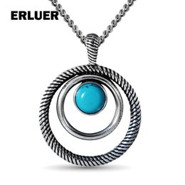 $enCountryForm.capitalKeyWord NZ - ERLUER Vintage Design Natural Stone Necklace Jewelry Retro Silver Plated Round Charm Necklaces & Pendants For Women Girls Gift