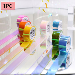 Discount diy stationery - 1 PC Cool Glitter Rainbow Laser Paper Tape Stationery Scrapbooking Decorative Adhesive Tapes DIY Masking Tape School Sup