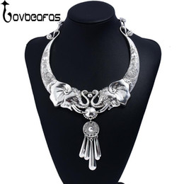 $enCountryForm.capitalKeyWord Australia - LOVBEAFAS Vintage Choker Statement Women Necklace Tibetan Silver Carved Elephant Tassel Collar Collier Necklace Accessories