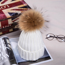 Wholesale real furs resale online - New Winter Knitted Real Fur Hat Thicken Beanies hat with Real Raccoon Fur Pom poms women Christmas fashion Warm Caps snapback Hats
