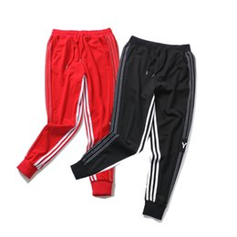Wholesale Mens Brand Jogger Pants White Lining Striped Long Sweatpants Black Red Letter Printed Jogging Pants Fashion Joggers