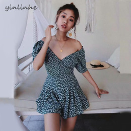 Discount elegant shorts rompers - yinlinhe Floral Green Short Jumpsuit Women Rompers V neck Off Shoulder Playsuit Summer Short Sleeve Elegant Sexy Overall