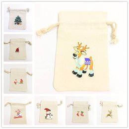 Gold Christmas Candy Gift Bags Australia - Santa Sacks Christmas Candy Bag Canvas Gift Bags Santa Deer Elk Ride New Year Xmas Nevidad Gifts For Kids Event Party Decoration