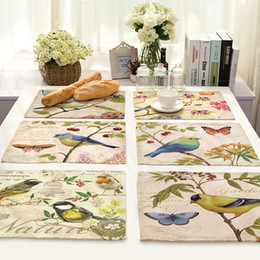 western art paintings UK - Hand-painted Bird Pastoral Style Printing Table Mat Animal Series Cotton and Linen Fabric Art Heat Insulation Western Food Pad