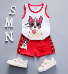 High Quality Vest Australia - High quality fashion cartoon cute puppy pattern vest + shorts two-piece male baby casual breathable cool suit Clothing Sets red yeellow