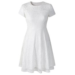 elegant short white line dresses UK - Women Dress 2019 Elegant Lace A Line Summer Dresses Office Ladies Short Sleeve Female Dress