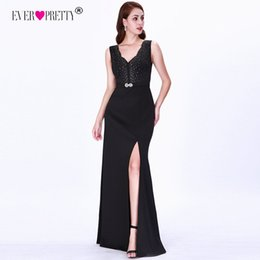 $enCountryForm.capitalKeyWord Australia - Sexy Plus Size Evening Dresses Ever Pretty EZ07756 Black Little Mermaid Leg Slit V-neck Cheap Long Party Gowns Vestidos De