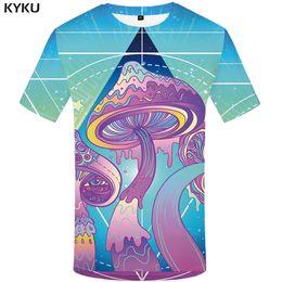 Ivory Lycra Shirt Australia - wholesale Brand Mushroom T shirt Men Colorful Printed Tshirt Harajuku Cool Sea Funny T shirts Anime Clothes Hip hop